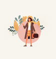young girl travel with baggage flat vector image vector image