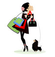young woman shopping bags and dog vector image vector image