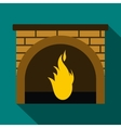 Christmas fireplace icon flat style vector image
