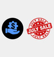 bank service hand icon and grunge july sale vector image vector image