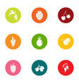 berry field icons set flat style vector image