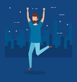boy jumping and city design vector image