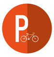 bycicle road sign parking shadow vector image