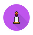 candle icon on round background vector image vector image