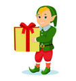 cartoon christmas elf with a gift vector image vector image