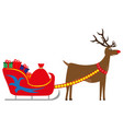 cartoon deer carries new year gifts vector image vector image