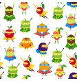 cartoon vegetables and fruit superhero characters vector image vector image