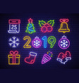 christmas icon set happy new year vector image vector image