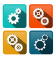 cogs gears flat design icons on rounded squares vector image