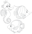 Coral fishes and seahorse vector image vector image