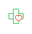 cross with a heart logo for the clinic vector image vector image