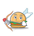 cupid burger character fast food vector image vector image