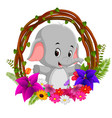 cute elephant in root of tree frame with flower vector image vector image