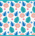 cute flowers and nature plant leaves background vector image