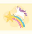 cute magical unicorn shooting star rainbow vector image vector image