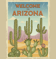 design template of retro poster welcome to arizona vector image vector image