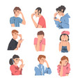 embarrassed people set regretful persons sorry vector image vector image