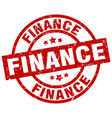 finance round red grunge stamp vector image vector image