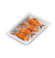 fish food pack isolated isometric disposable 3d vector image vector image