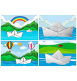 four scenes with paper boats at sea vector image