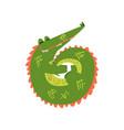 friendly crocodile curled up funny predator vector image vector image