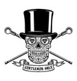 gentlemen only mexican sugar skull in vintage hat vector image vector image