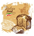 Hand drawn sketch Italian food background vector image vector image