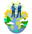 handshake world business partners on planet vector image vector image