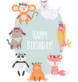 happy birthday card with cute animals wearing vector image