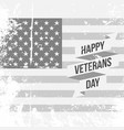 happy veterans day text on us national flag vector image
