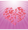 heart on pink background vector image vector image