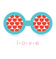 Hearts Reflection Eyeglasses vector image vector image