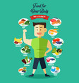 infographic healthy food vector image vector image