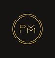 initial letter pm logo design template pm letter vector image vector image