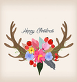 Lovely of deer head and spring flowers and plants vector image vector image