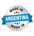 made in Argentina silver badge with blue ribbon vector image vector image