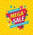 mega sale concept banner template design discount vector image vector image