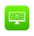 monitor icon green vector image vector image
