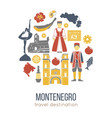 montenegro cultural symbols set in round shape vector image vector image