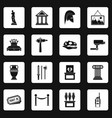 museum icons set squares vector image vector image