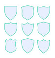 nine protection shield icons with green border vector image vector image