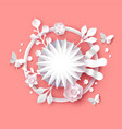 papercut spring flower 3d paper craft template vector image