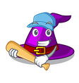 playing baseball with hat in the shape mascot