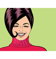 pop art cute retro woman in comics style laughing vector image