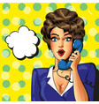 pop art vintage business woman talking on vector image vector image