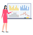 presentation on board businesswoman with report vector image vector image