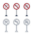 prohibition road sign set no left turn no right vector image vector image