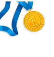 realistic gold medal for first place background vector image vector image