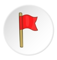 Red flag icon cartoon style vector image vector image