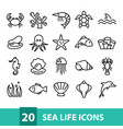 sea life icons collection vector image vector image